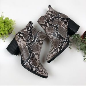 NEW Blondo Brown Snakeskin Leather Booties